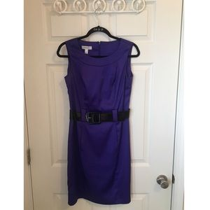 Classy Shiny Fabric Purple Dress